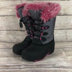 Pink & Black Faux fur waterproof youth Kamik Boots